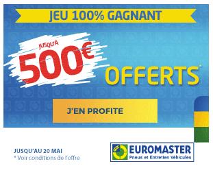 Pneus Michelin 500€ offerts Euromaster promotions pneus Michelin pas cher