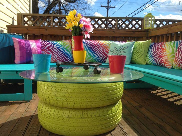 DIY : créer une table basse pour votre terrasse avec des pneus usés
