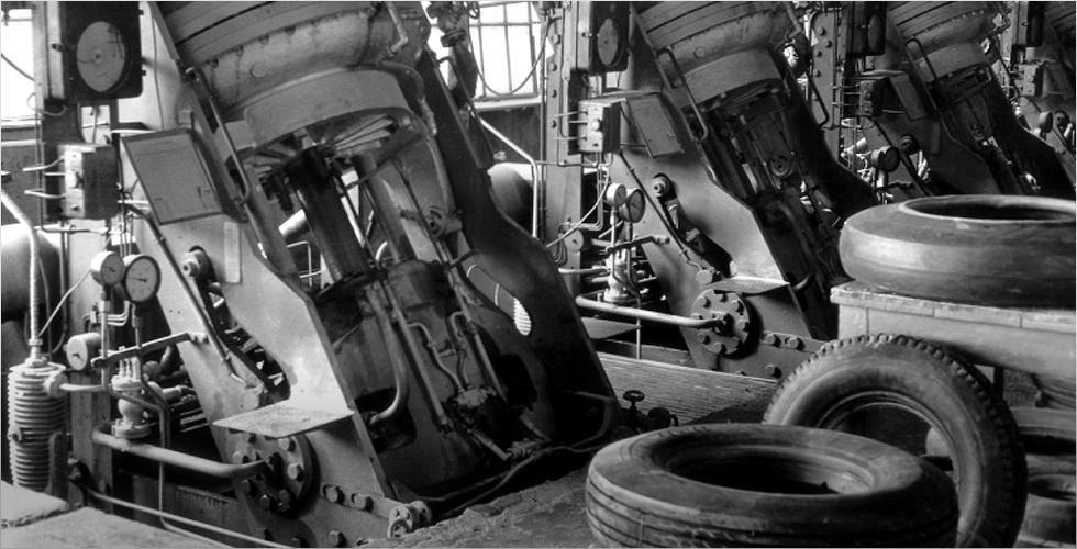Fabrique pneus Sava au siecle dernier